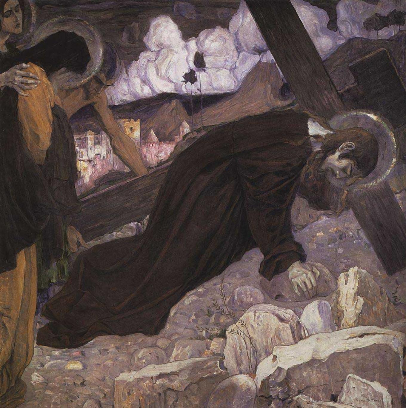 """Bearing the Cross"" by Mikhail Nesterov Courtesy of Tretyakov Gallery"