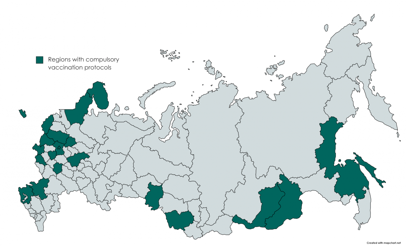 Russian regions that have introduced compulsory vaccination as of July 5. MT