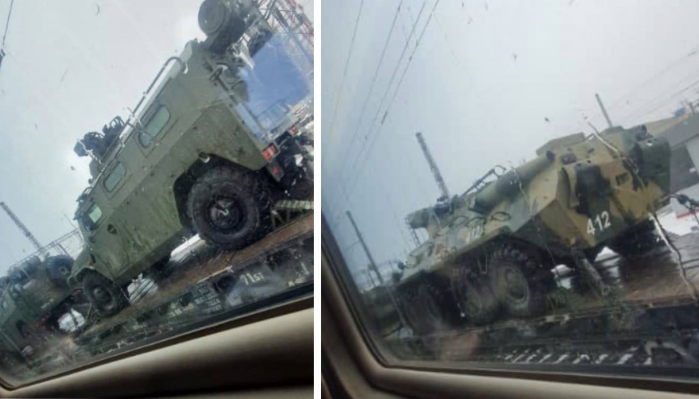 Online footage of Russian military vehicles near Gukovo. 				 				CIT