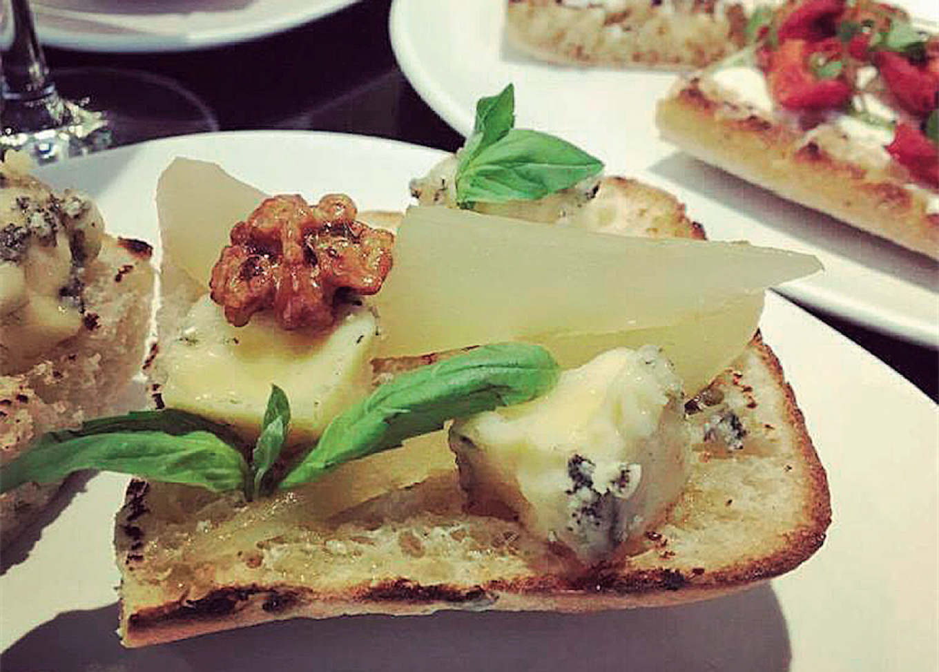 At Winetime, guests can try some of Russia's best domestically produced cheeses, including this blue cheese bruschetta. WINE TIME / FACEBOOK
