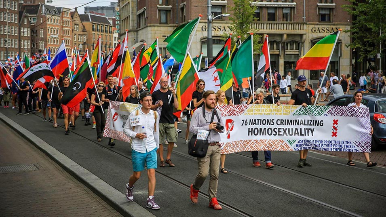 Yevgeny Voytsekhovsky and Pavel Stotsko during the Gay Pride parade in Amsterdam on Aug. 4 Pavel Stotsko Facebook