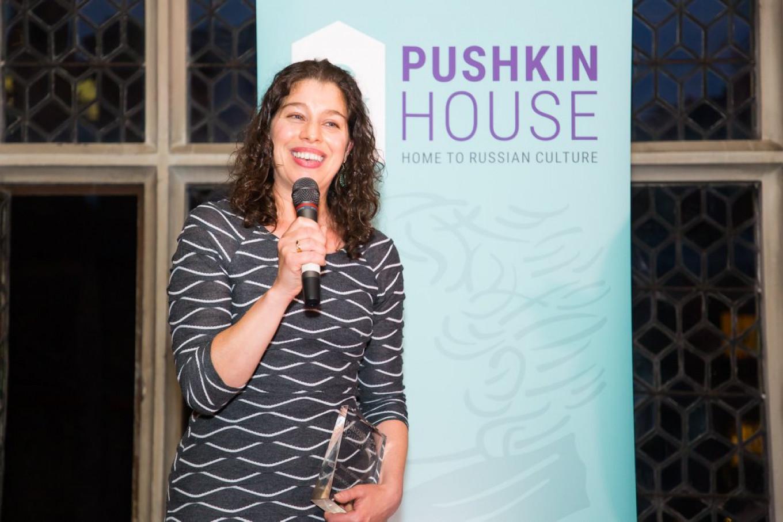 Alexis Peri receives her award. Courtesy of Pushkin House