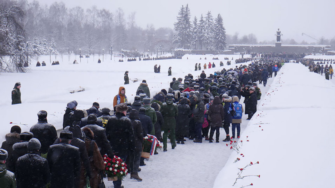 Hundreds of thousands of people are believed to be buried in the mass graves at Piskaryovskoye Cemetery in St. Petersburg. Daniel Kozin / MT