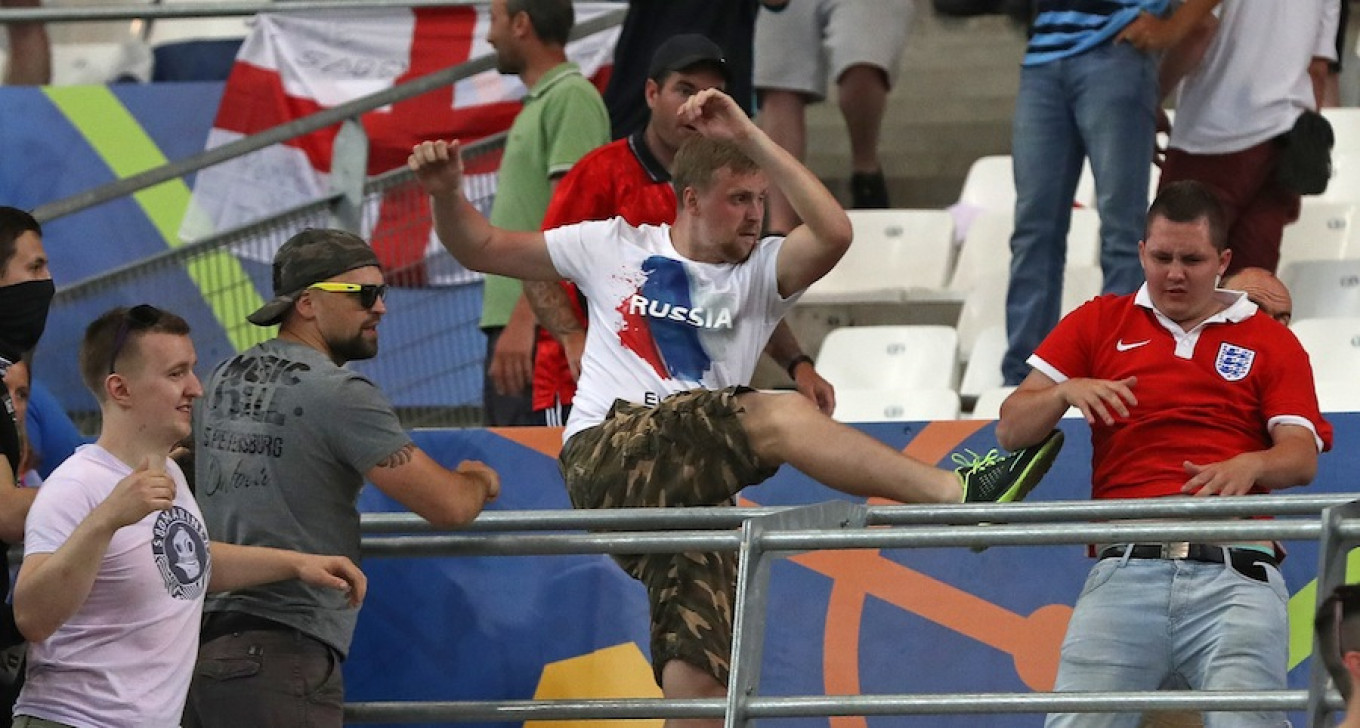 The world was woken to Russian hooliganism when fans clashed in Marseille during EURO 2016. Thanassis Stavrakis / AP
