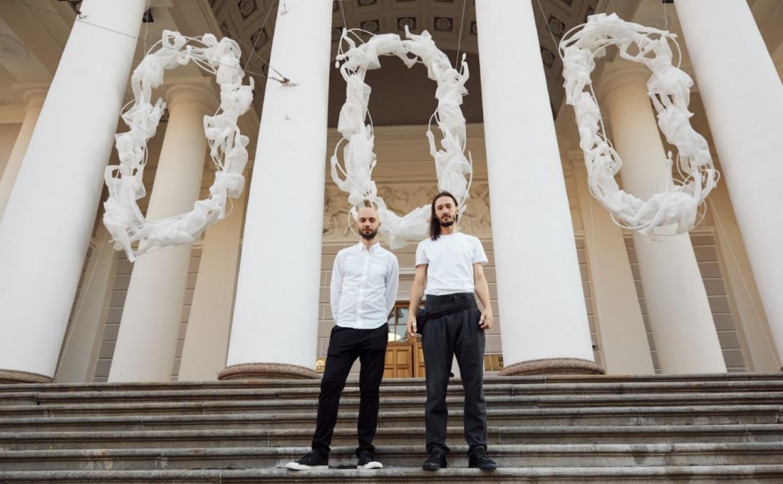"Andrei Blokhin and Georgy Kuznetsov in front of ""Closed Systems"" Dmitry Smirnov / Manege"