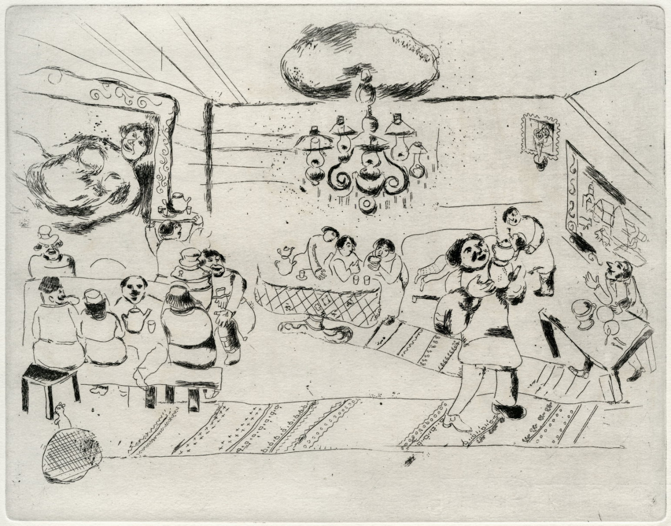 """Inn,"" Marc Chagall, 1948, lithograph				 				From the collection of B. Fridman"
