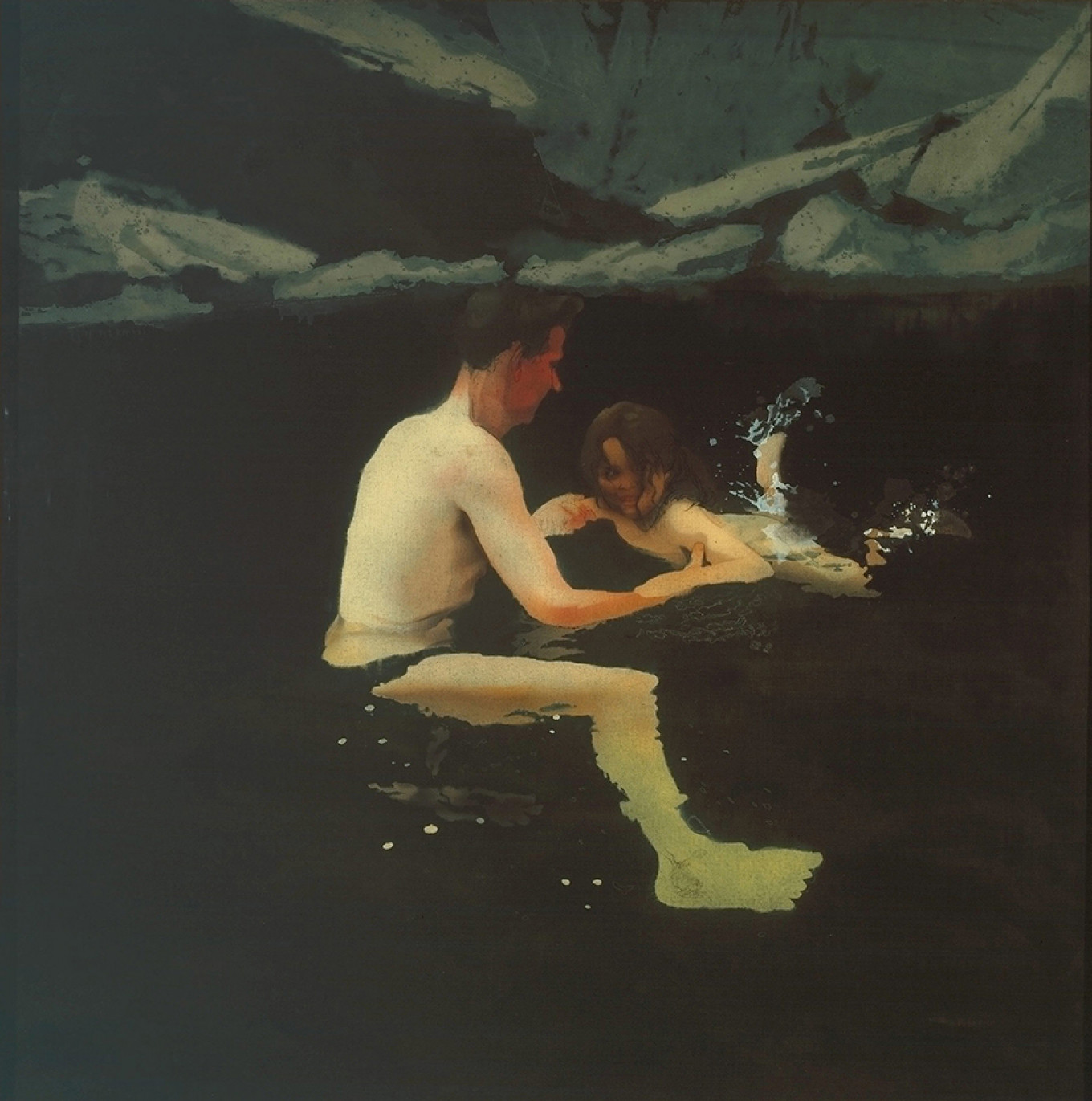 """""""Melanie and Me Swimming,"""" Michael Andrews, 1978-79 © Tate© The Estate of Michael Andrews / Courtesy James Hyman Gallery, London"""