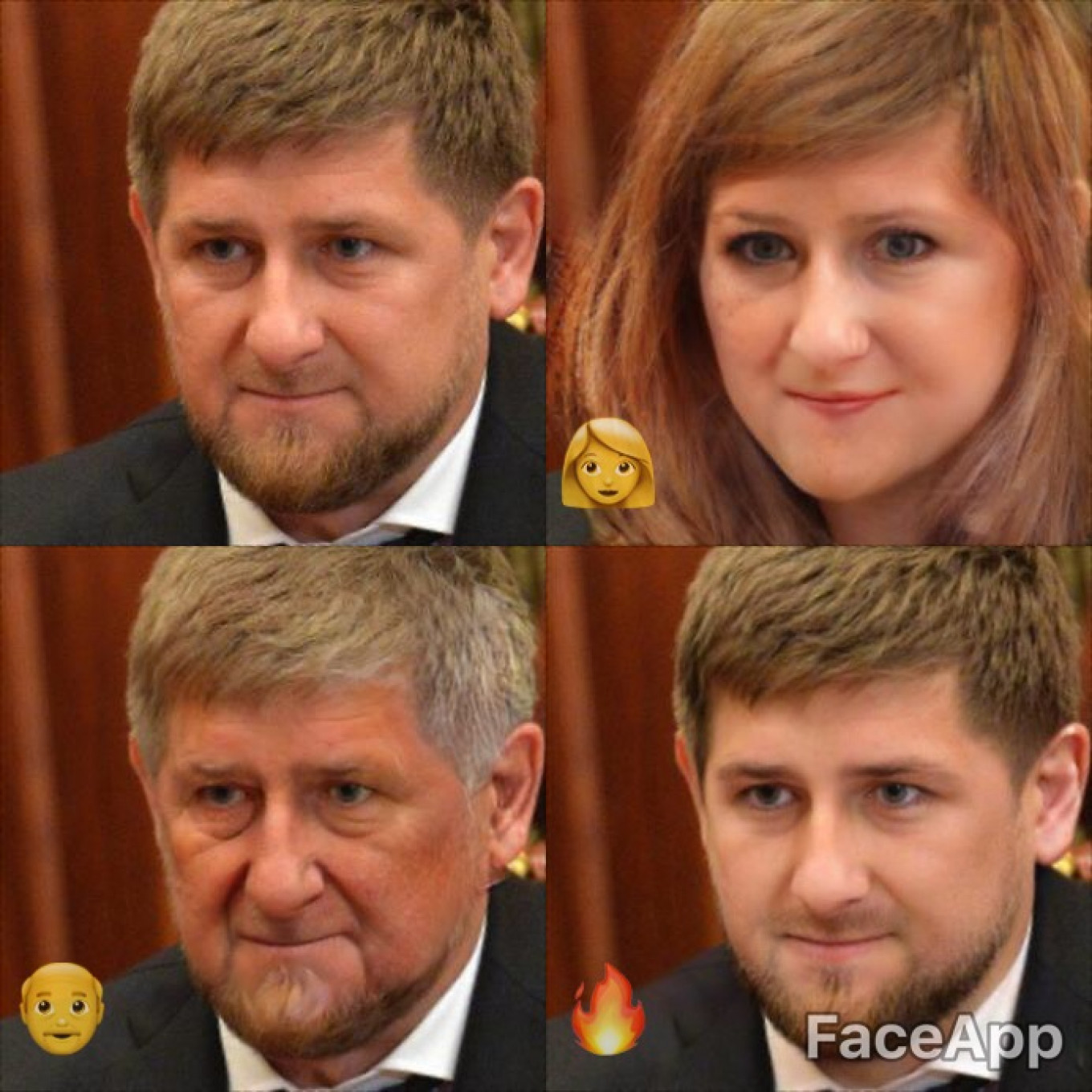 "Headed to Chechnya sometime soon? Don't forget to stop in on the leader of the republic, Ramzan Kadyrov. Here is is in female, old, and ""hot"" forms.				 				Kremlin Press Service"