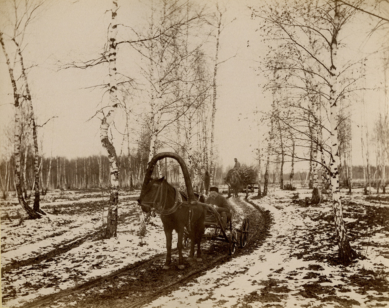 """""""First Snow in Dugino,"""" 1886 Courtesy of Museum of Russian Impressionism"""
