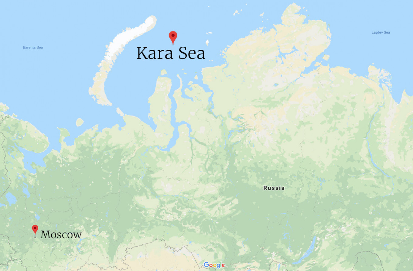 The rigs are drilling for gas in the Kara Sea. Google Maps