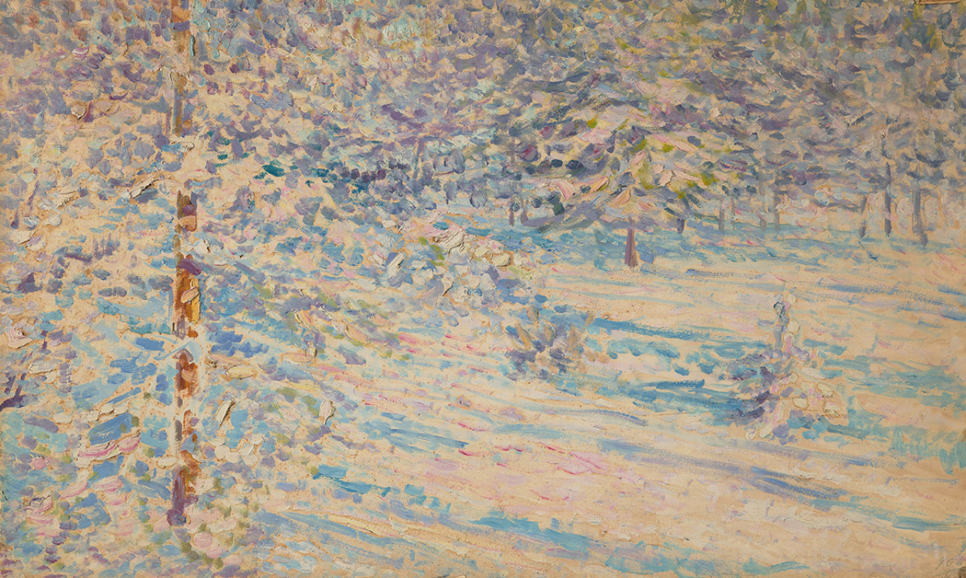 """""""Forest Edge in Winter,"""" date unknown; hidden side of two-sided painting Courtesy of Tretyakov Gallery"""