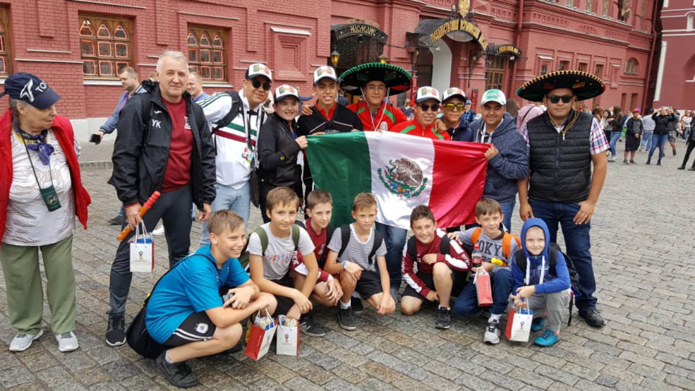 For Russia's emerging footballers, meeting foreigners was an integral part of the World Cup. Yuri Kozhemyak / MFK Krepost