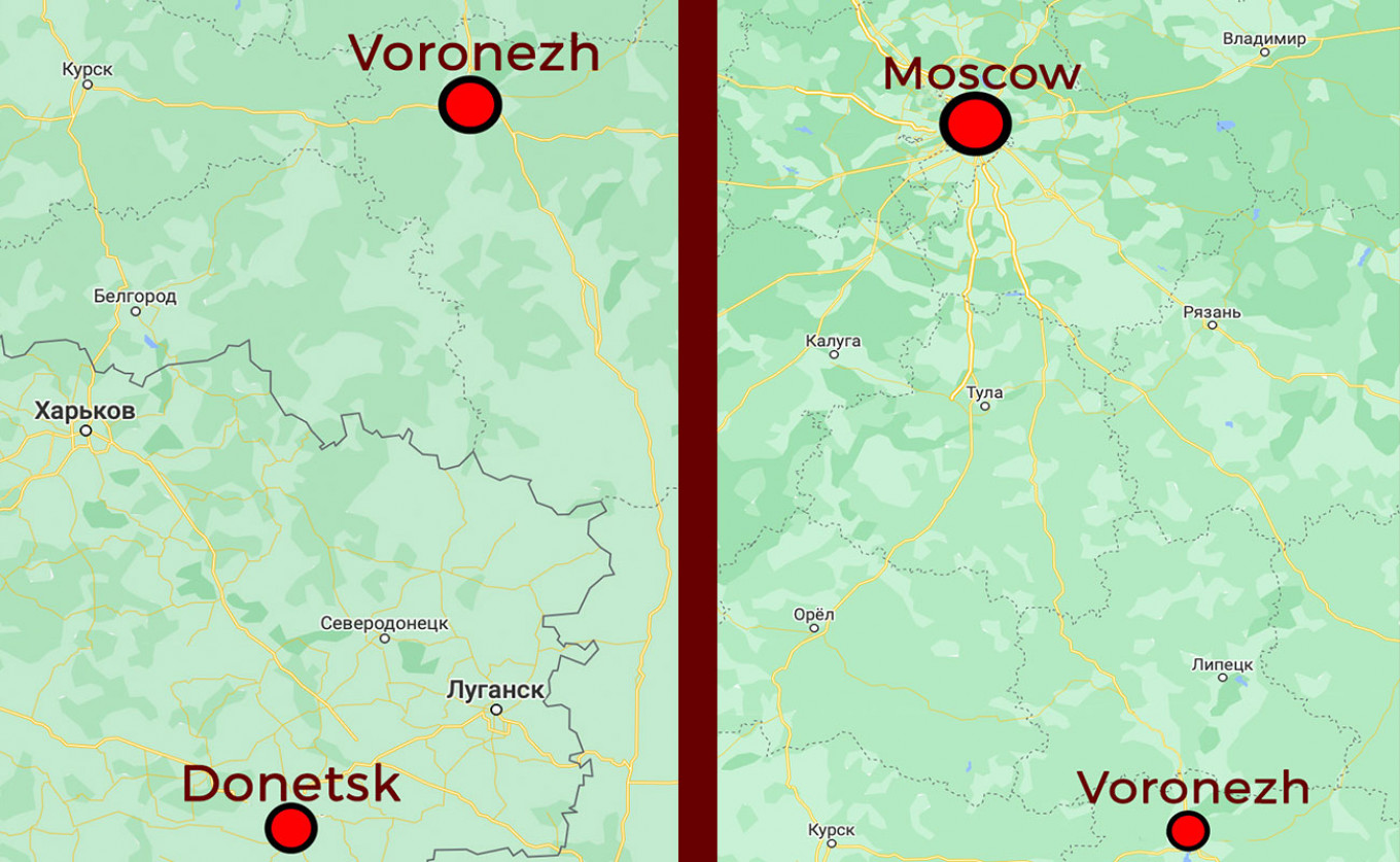 Voronezh is located only a few hours' drive from the Donbas frontline. MT / Google maps