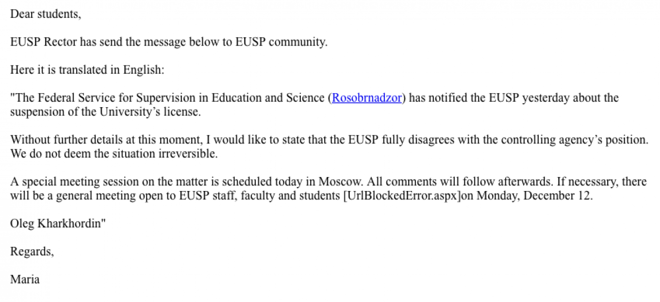 International students received this e-mail from the university over the weekend following the court decision. The Moscow Times