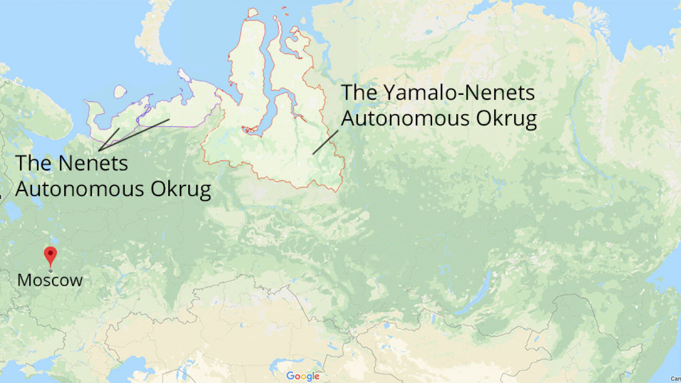 In Russia's Arctic, Oil Majors and Reindeer Herders Are ... on yakutsk siberia map, kamchatka peninsula map, novosibirsk siberia map, russia siberia map, omsk siberia map, kola peninsula map, lake baikal siberia map, western siberia map,