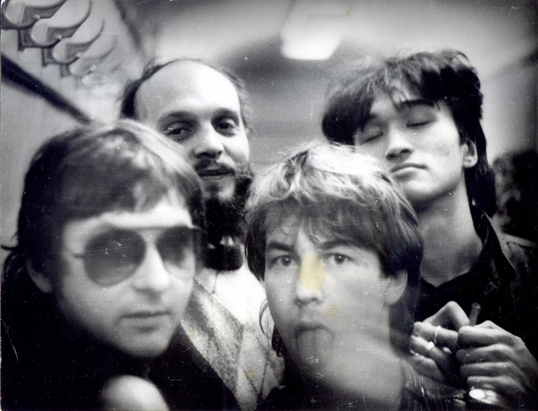 L-R Mike Naumenko, Alexander Lipnitsky, Alexander Bashlachyov, Viktor Tsoi © Alexander Lipnitsky archive