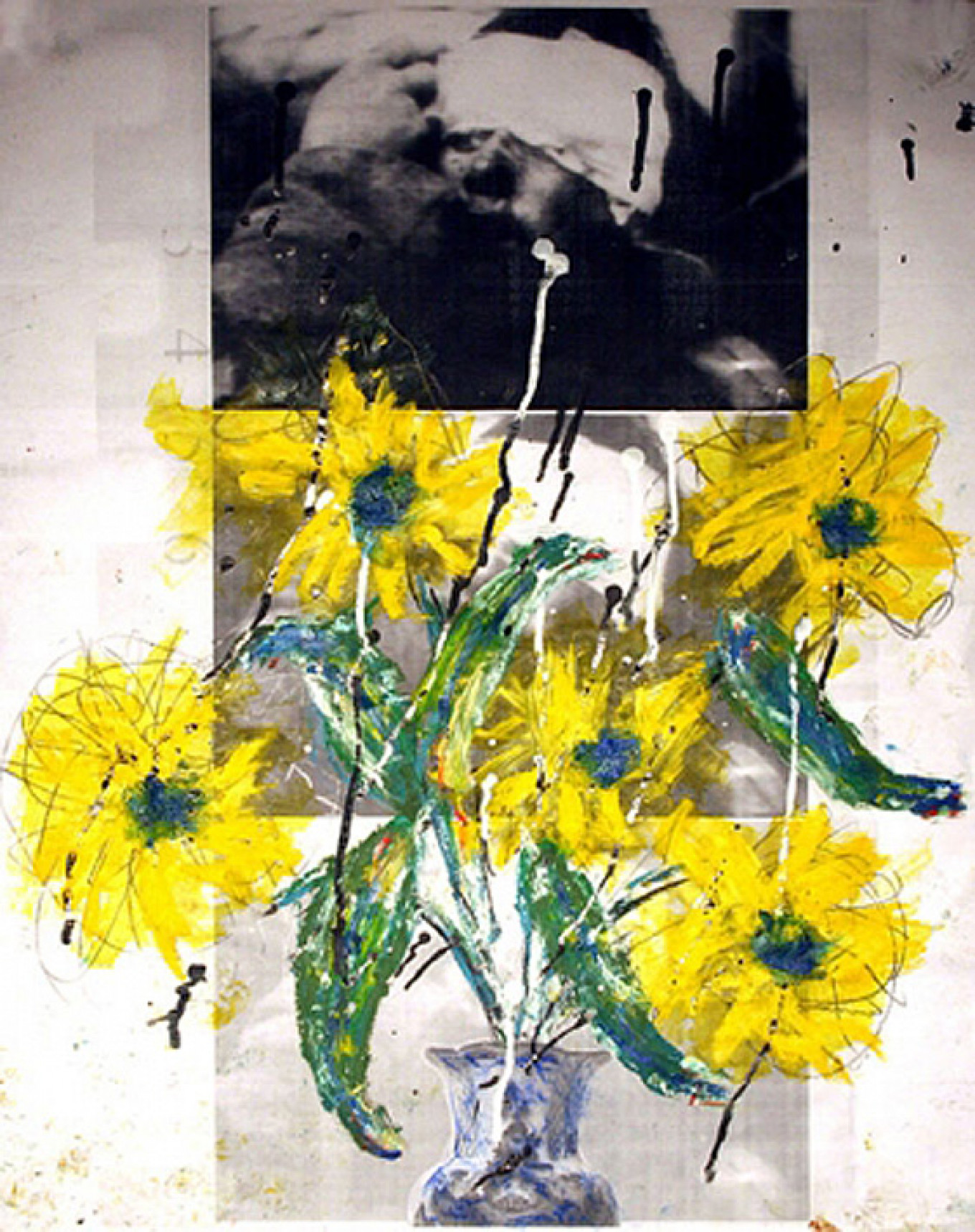 Medovoy's graphic work superimposes painted flowers on documentary footage of interviews with soldiers' families. MOSCOW MUSEUM Of MODERN ART
