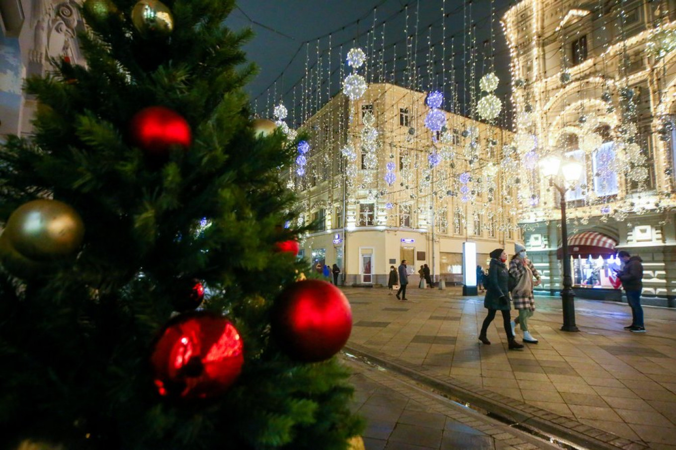 Moscow Street decorated with fancy lightening's 2021
