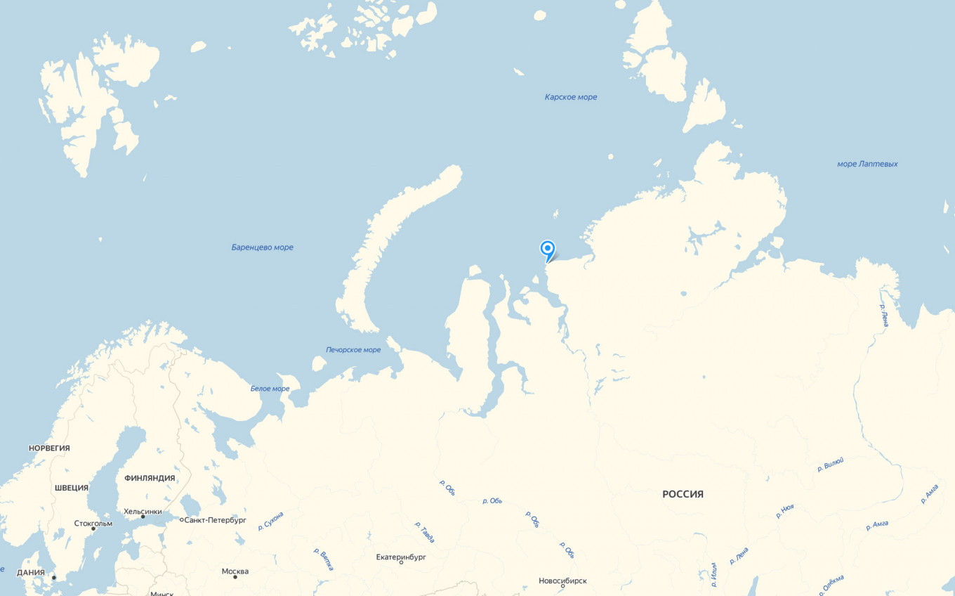 Dikson is located on the coast of the Taymyr Peninsula, by the Kara Sea.