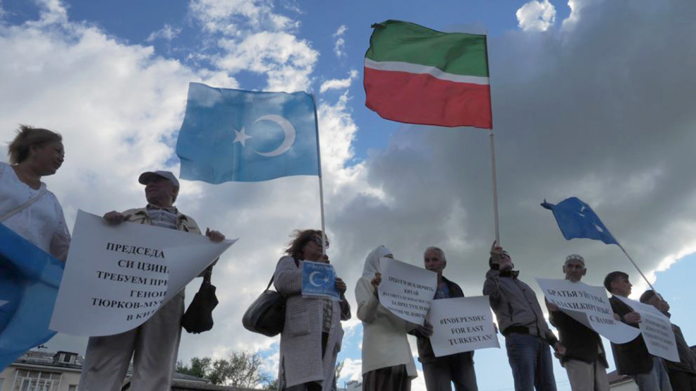 In June, activists gathered in Kazan to demonstrate against the Chinese security campaign in Xinjiang. Russian Muslim leaders have stayed silent on the issue.				 				Andrei Grigoriyev / Idel.Realii
