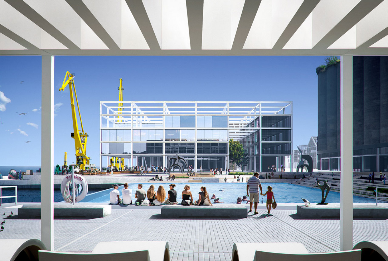 Leto's port elevator project re-imagined the area into a bustling urban center.  Russian Biennale of Young Architects