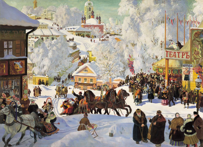"""""""Maslenitsa"""" by Boris Kustodiev, 1916 wikicommons"""