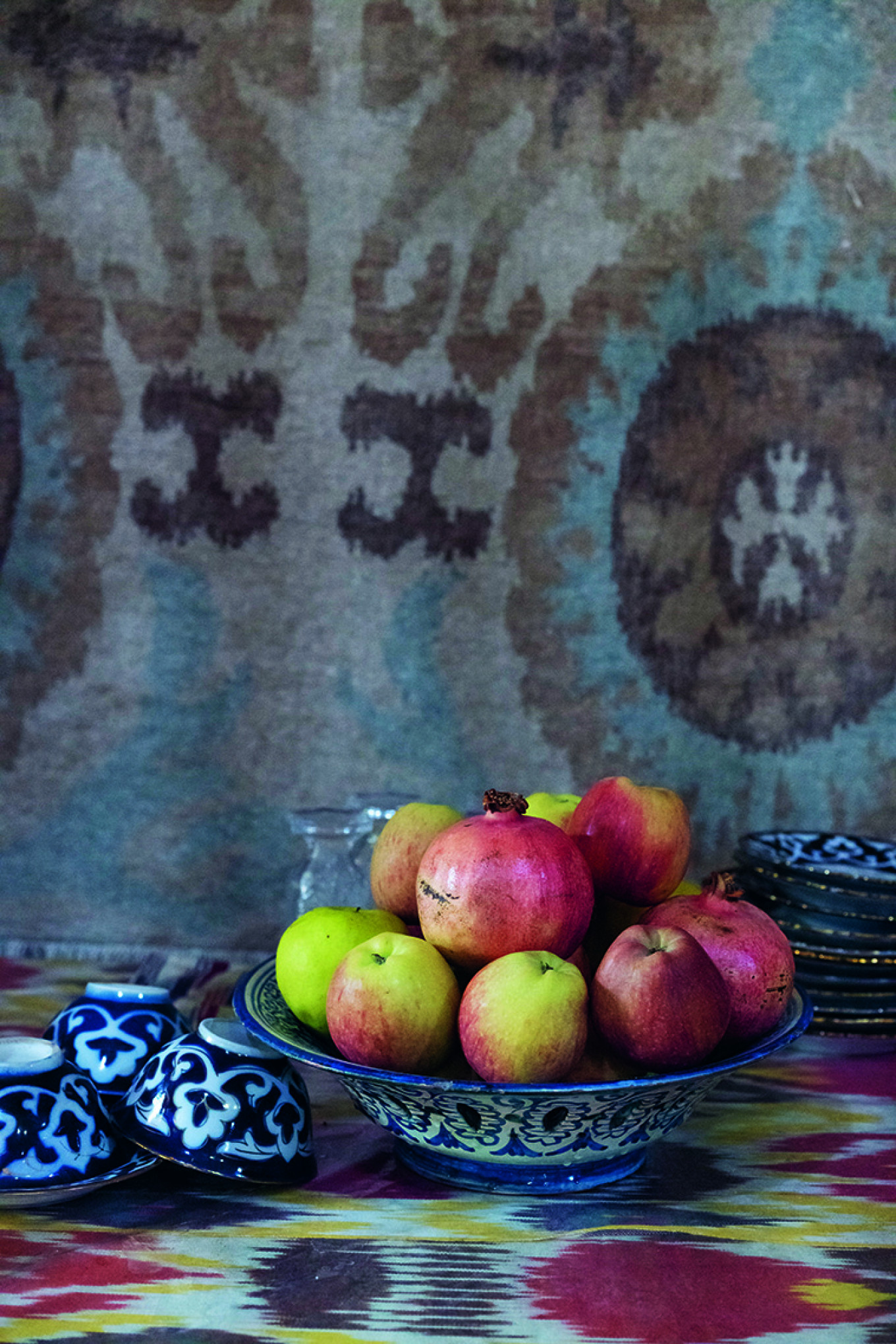 Ikat cloth and fruit, Margilan Theodore Kaye