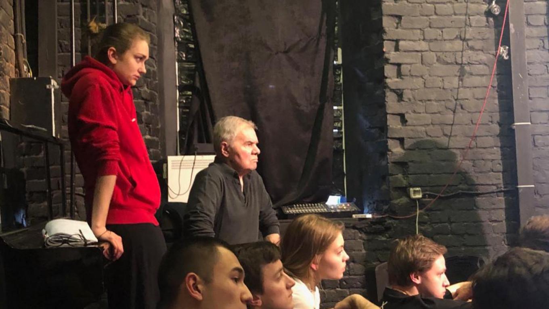 Oleg Kudryashov and students watch an Etude Courtesy of GITIS