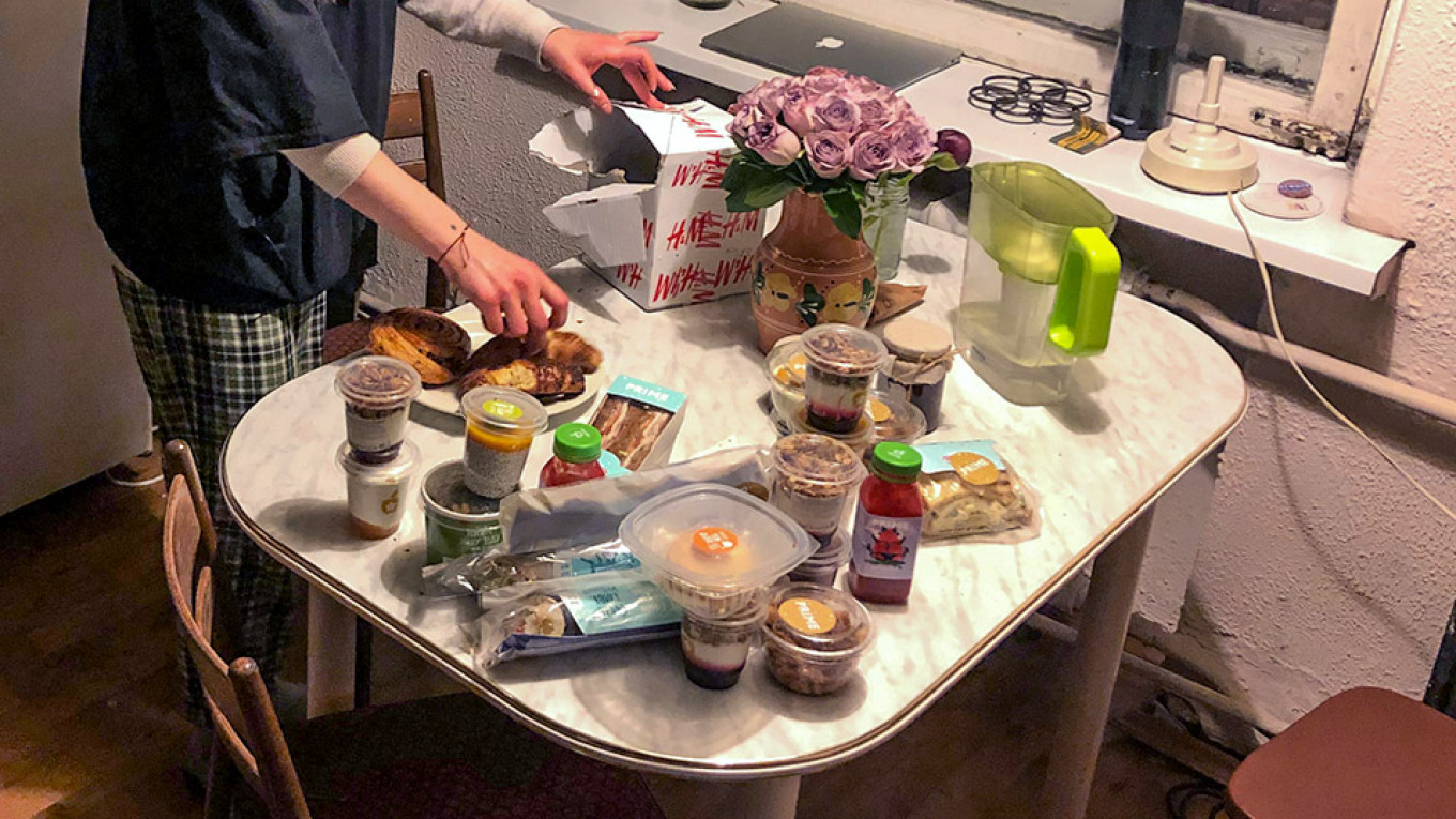 The total retail value of the food Afasyeva has collected is about 4,500 rubles ($70). She says she would have to work for two days to be able to afford this much food. Samantha Berkhead / MT