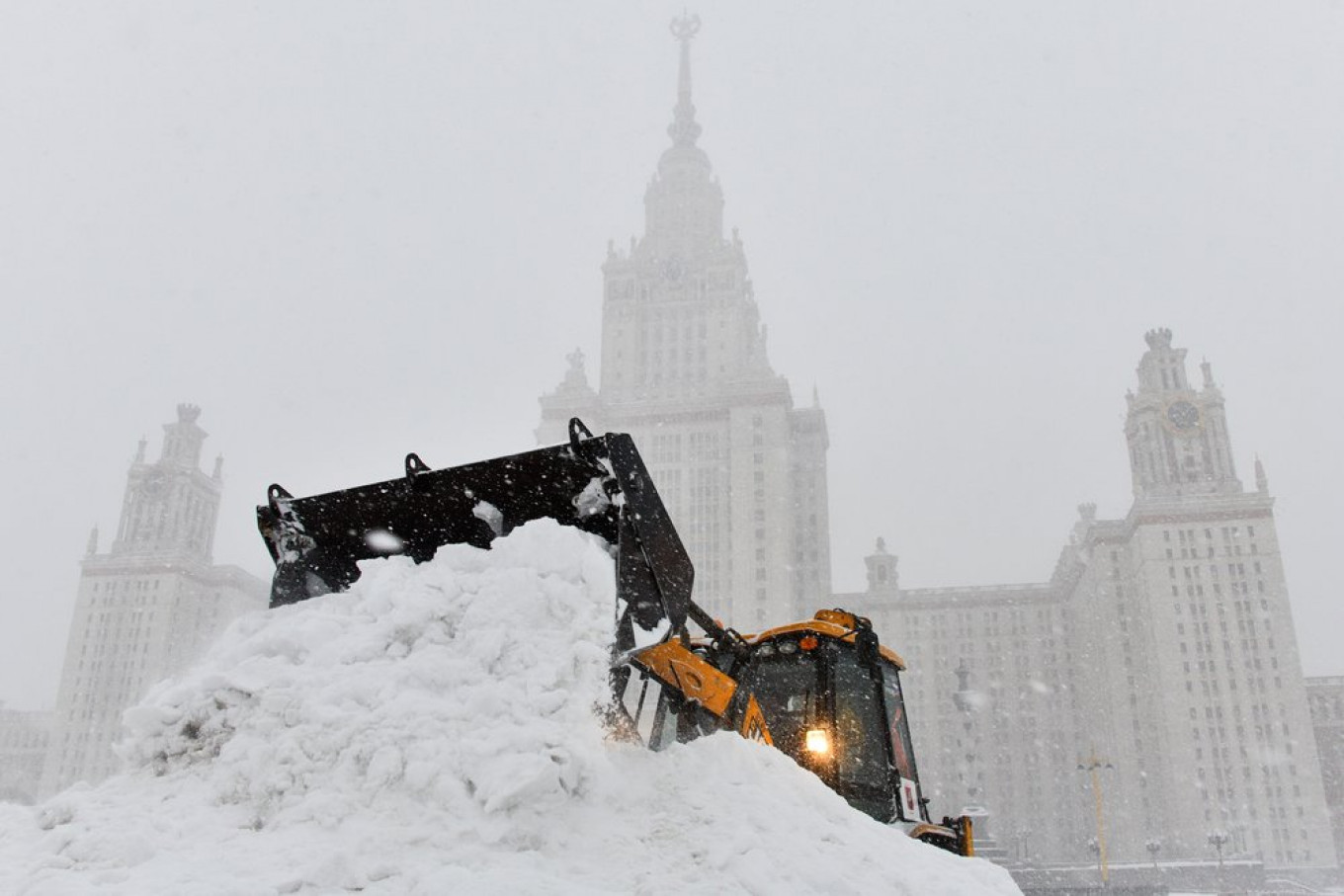 At Moscow State University, a tractor does the heavy work. 				 				Igor Ivanko / Moskva News Agency