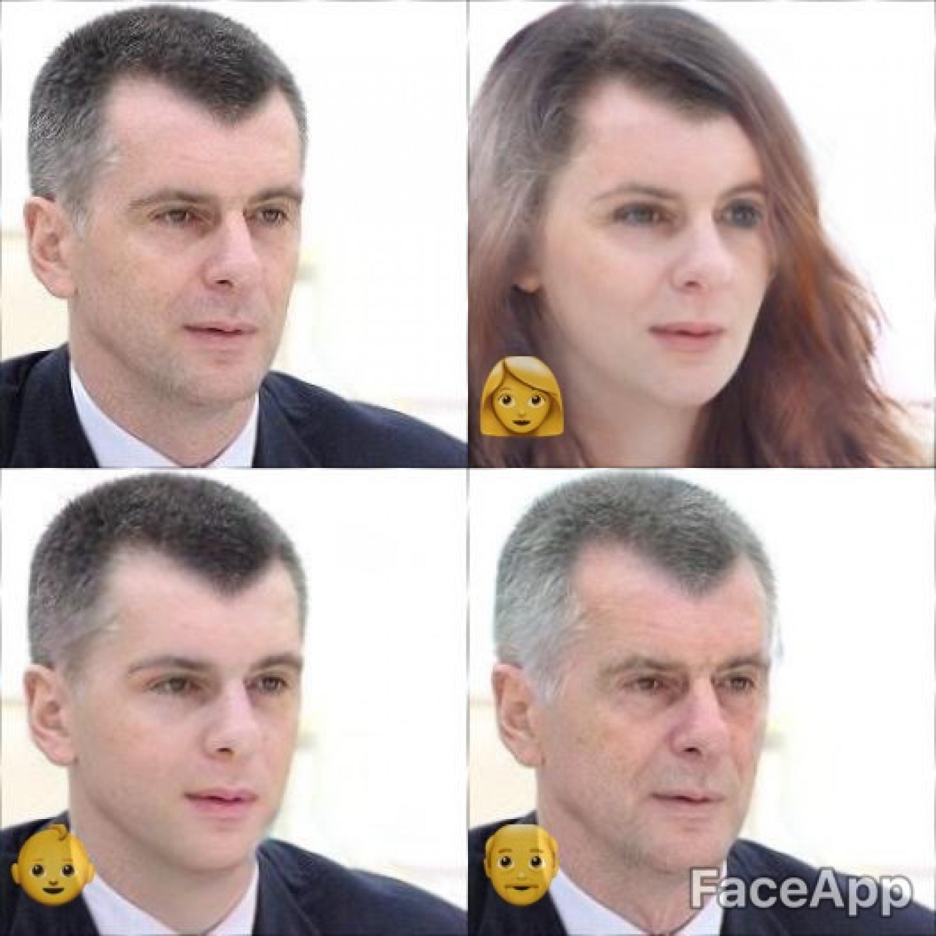 Oligarch Mikhail Prokhorov is finally selling off his cherished independent news agency RBC. Here he is as a woman, young man, and old man.				 				Kremlin Press Service