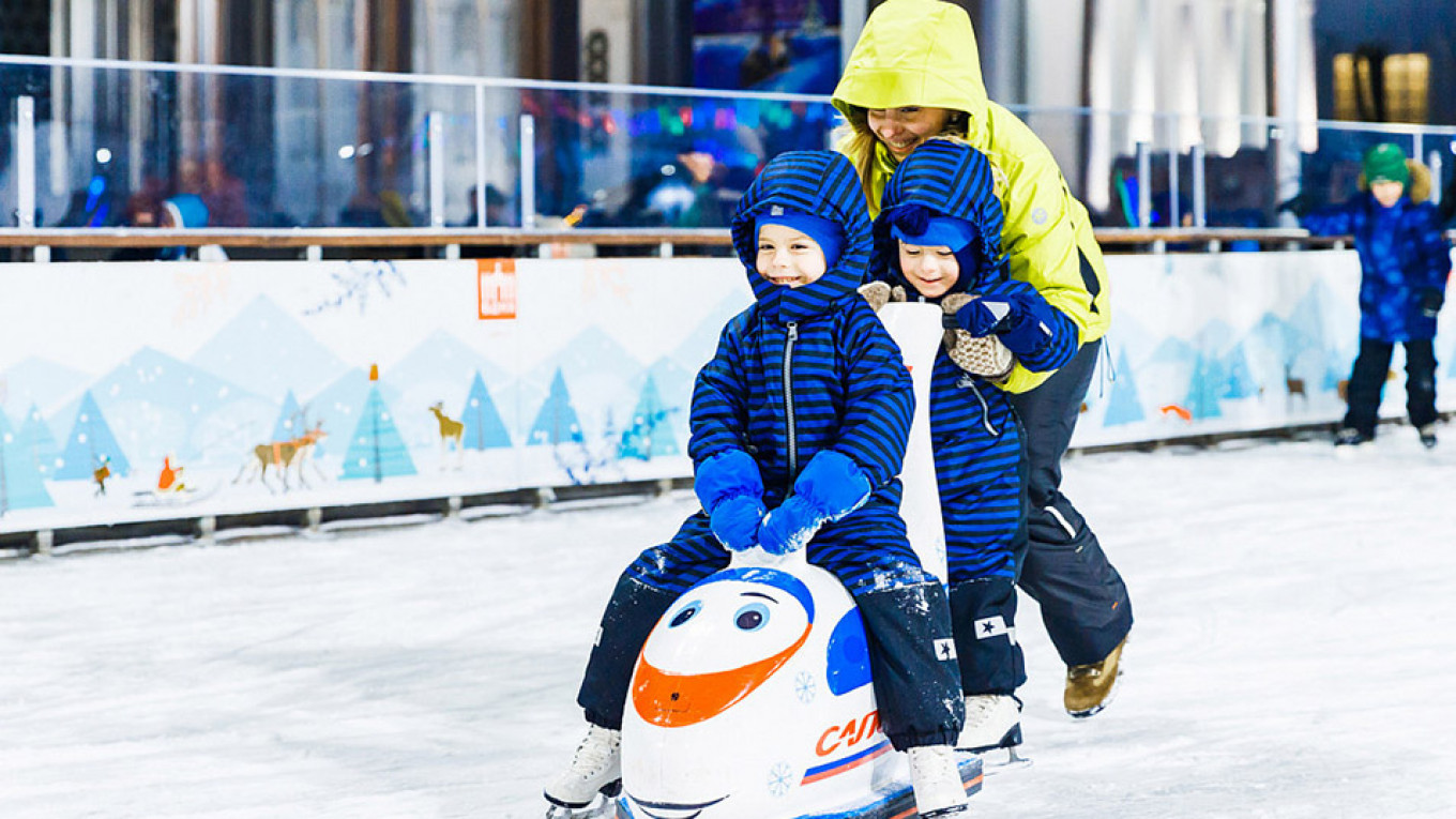 Even kids who can't skate have fun on the rink  Courtesy of VDNKh Park