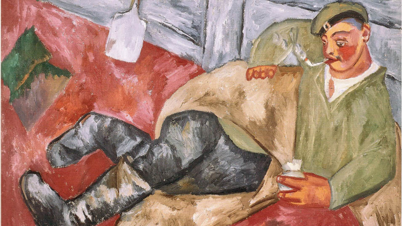 """""""A Soldier at Rest"""" (1911) by Mikhail Larionov  Courtesy of the Tretyakov Gallery"""