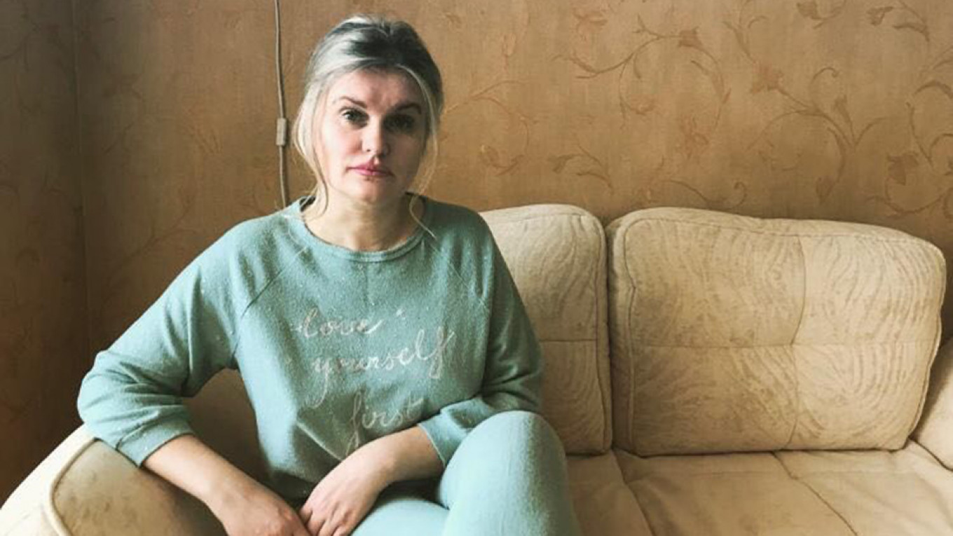 Yelena Volkova at her Moscow apartment. She says she doesn't sleep and is too scared to leave on most days. Personal Archive
