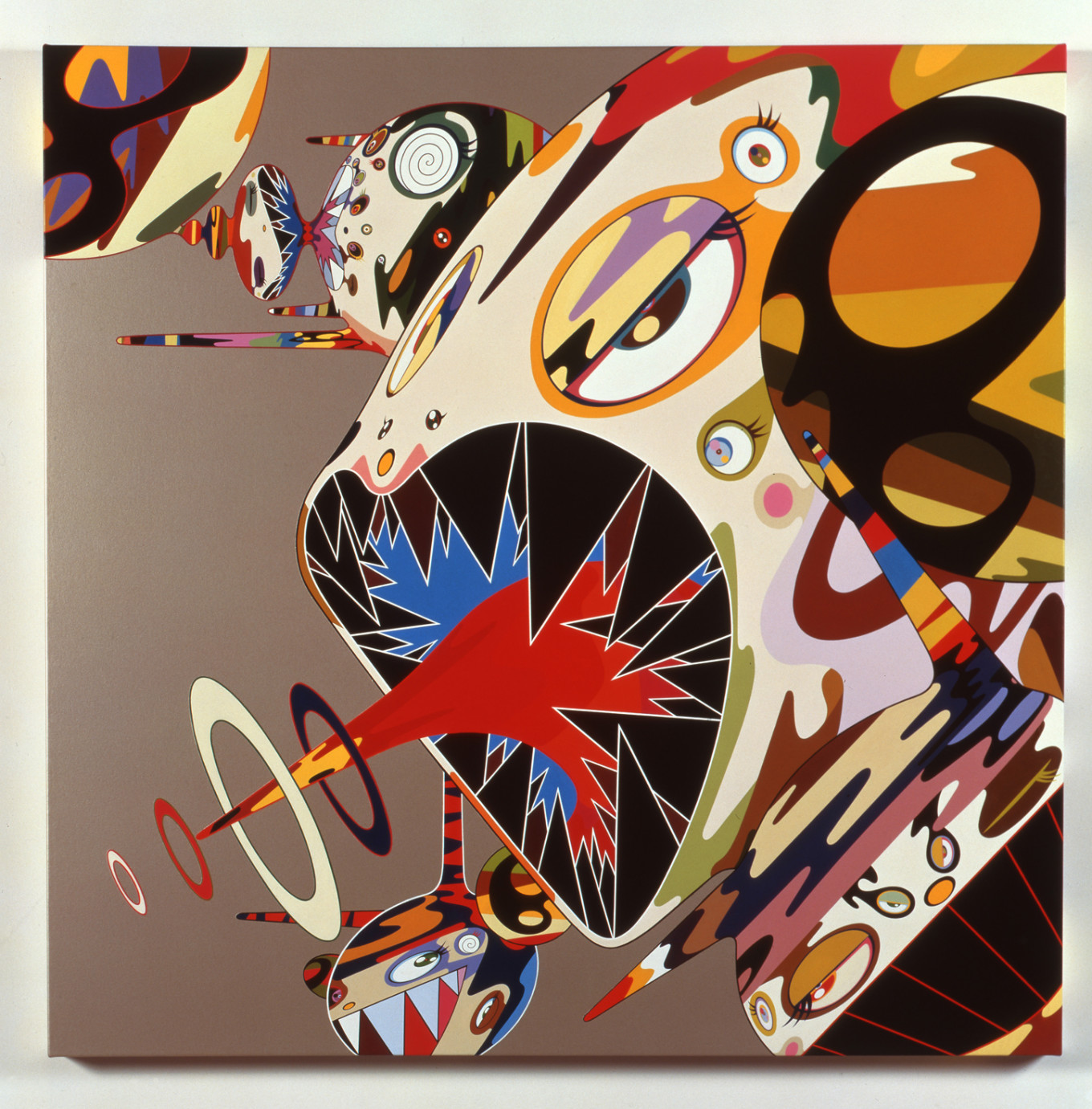 Homage to Francis Bacon (Study of Isabel Rawsthorne), 2002; acrylic on canvas mounted on board; 120 × 120 × 5 cm; private collection.  Courtesy Perrotin © 2002 Takashi Murakami/Kaikai Kiki Co., Ltd. All Rights Reserved.