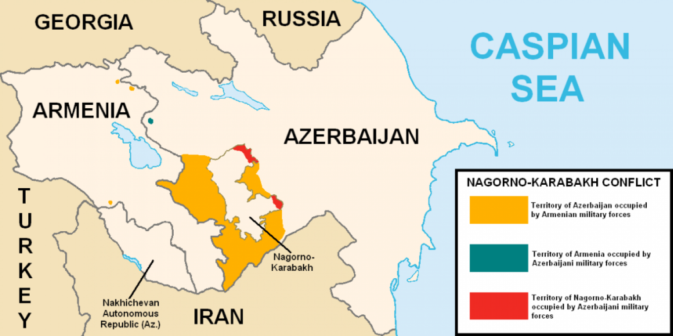 Nagorno-Karabakh and areas under control of Armenian and Azerbaijani forces, before the conflict resumed in September 2020.				 				Public domain
