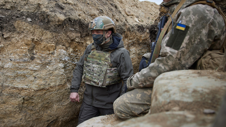Ukraine's Zelenskiy on Frontline as Merkel Urges Putin to Pull Back Troops