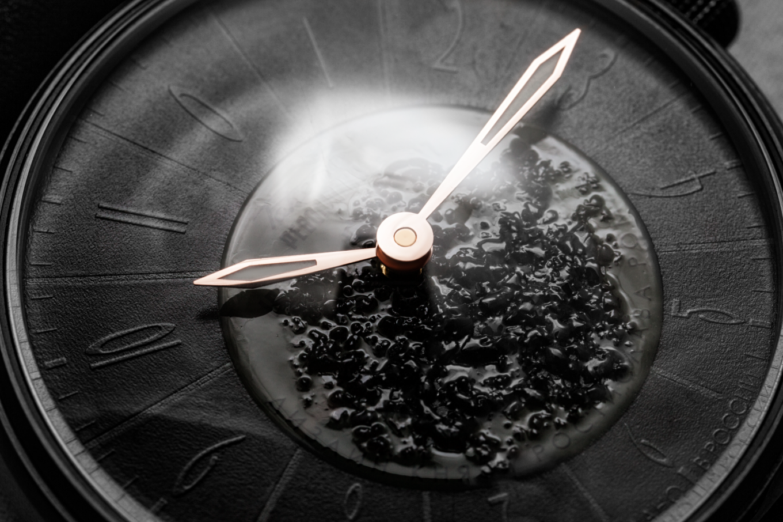 The dark face of the Raketa watch, designed by a Romanov prince.  Courtesy of Raketa