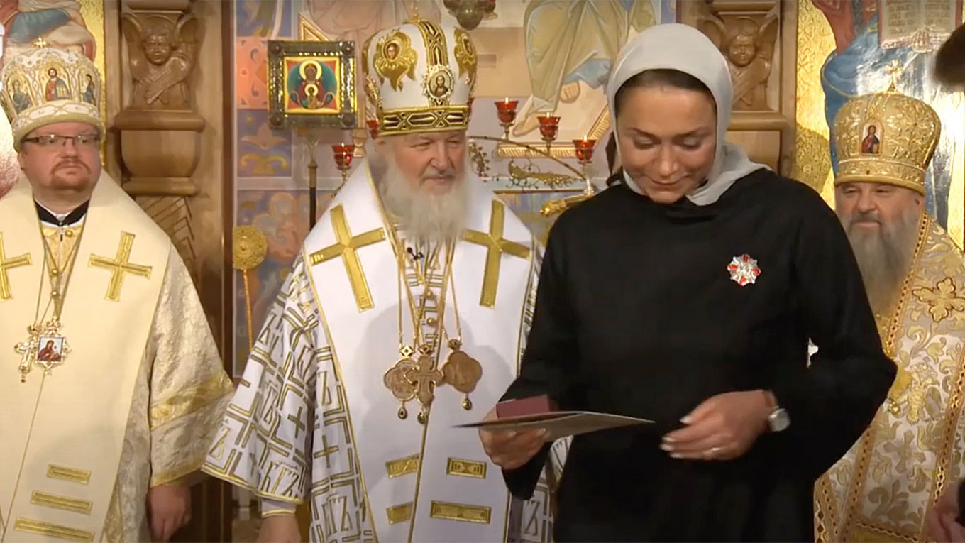 In December 2014, Polyakova was recognized by Russian Orthodox Church leader Patriarch Kirill for her role in restoring the church of St. Sergius of Radonezh in Tsarskoye Selo. russianchurch / YouTube