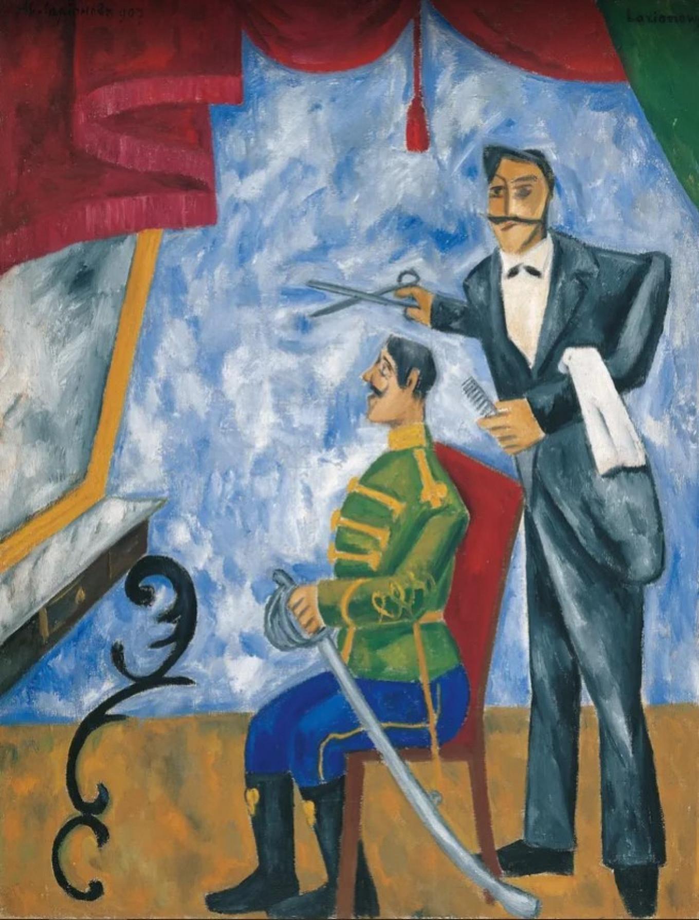 """Officer's Barber,"" by Mikhail Larionov, 1907-1909 Albertina Gallery, Vienna"