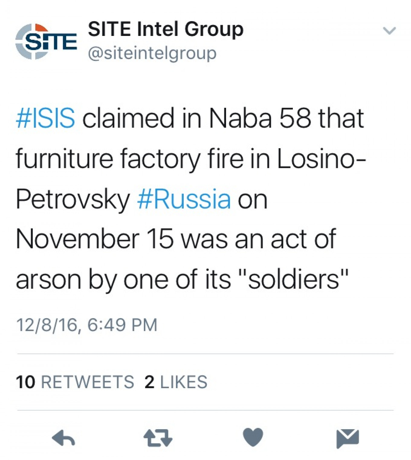 The original tweet from SITE Intel. SITE Intel Group / Twitter