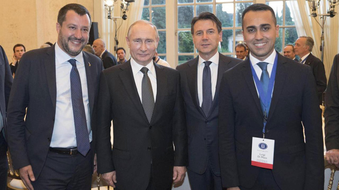 Matteo Salvini, Vladimir Putin, Giuseppe Conte and Luigi Di Maio				 				Presidency of the Council of Ministers
