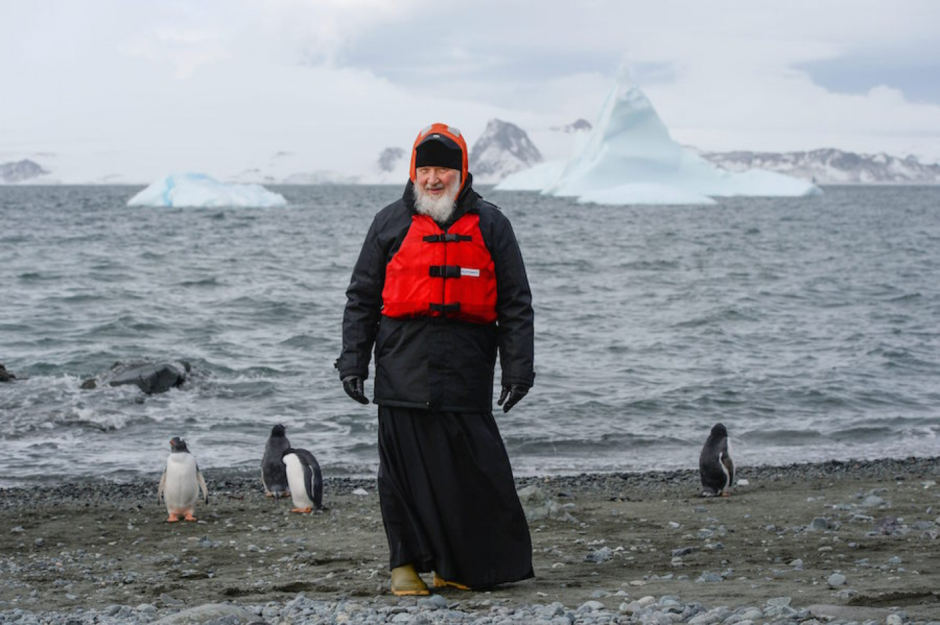 Patriarch Kirill poses for a photo at Russia's Bellingshausen Antarctic station. Russian Orthodox Church Patriarchate Press Office / TASS