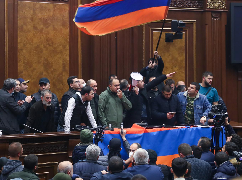 Protestors stormed Armenia's parliament early Tuesday morning. Stanislav Krasilnikov/TASS
