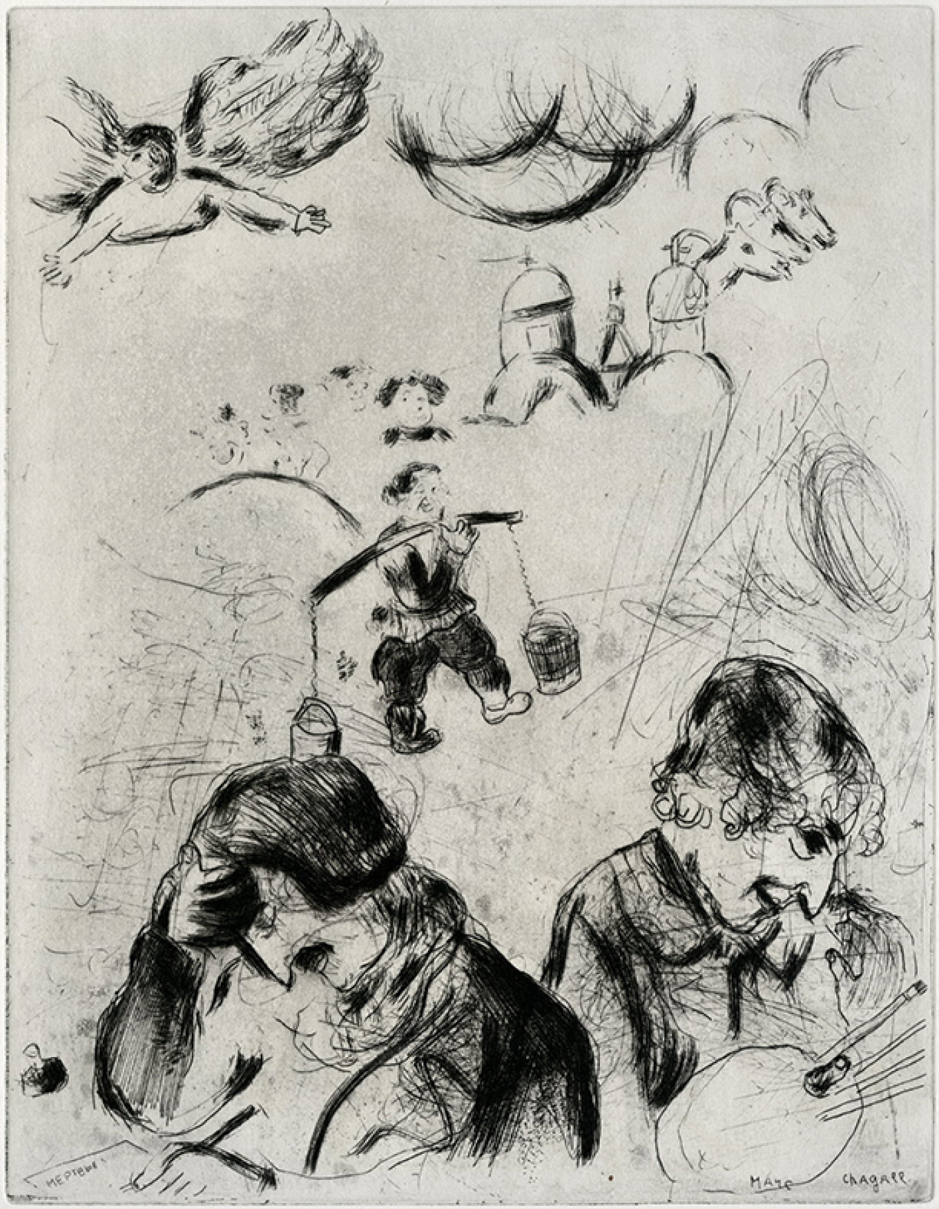 """Chagall Drawing 'Dead Souls',"" 1948, lithograph				 				From the collection of B. Fridman"
