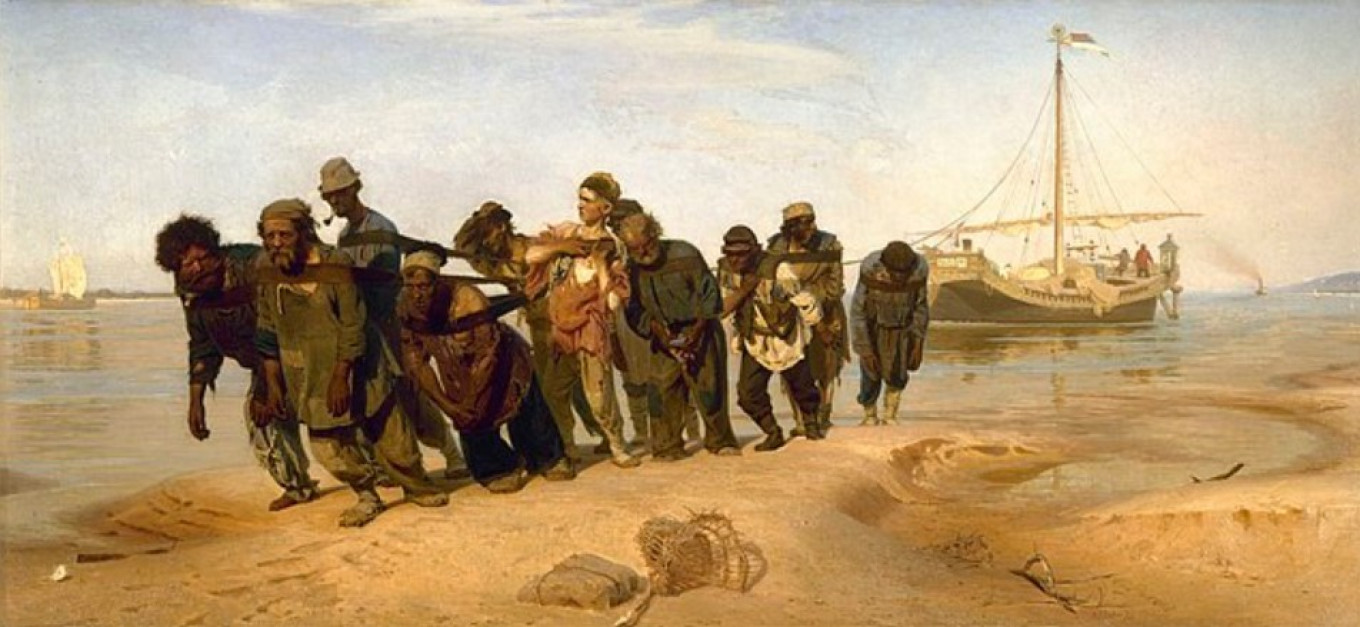"""Ilya Repin's 1873 painting """"Barge Haulers on the Volga"""" remains for many their image of the river. Wikicommons"""