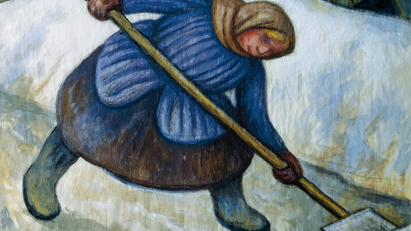 """""""Woman Shoveling Snow"""" 1955 by Diego Rivera  Courtesty of Dolores Olmeda Museum"""