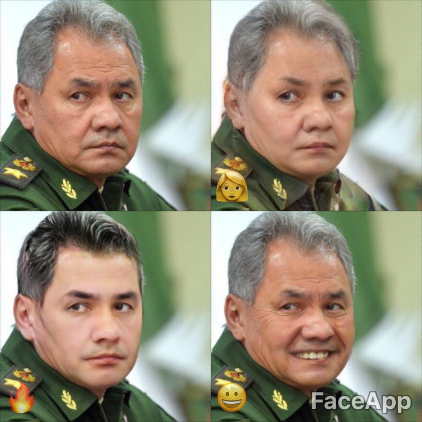 "Put your hands together for Sergei Shoygu, Russia's minister of defense. Here he is as a woman, a ""hot"" man, and — well — just smilin'.				 				Kremlin Press Service"