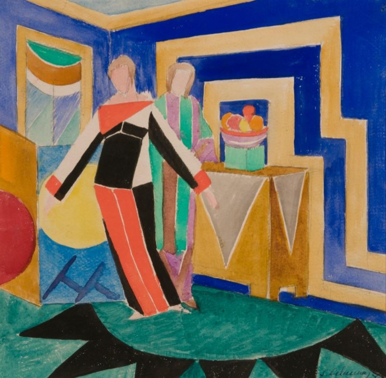 """Women in an Interior"" by Sonia Delaunay, 1923 Collection of Vladimir Tsarenkov"