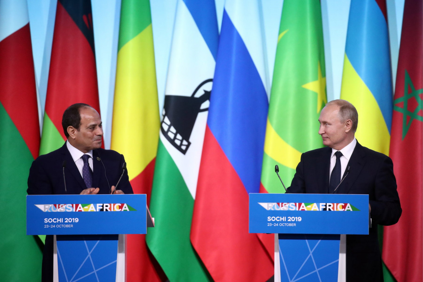 Egyptian President Abdel Fattah el-Sisi and Russia's President Vladimir Putin co-hosted the Russia-Africa Summit.				 				Valery Sharifulin / TASS Host Photo Agency